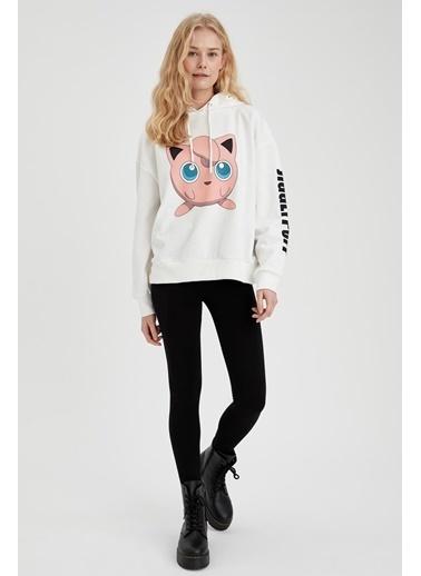 DeFacto Pokemon Lisanslı Oversize Sweatshirt Beyaz